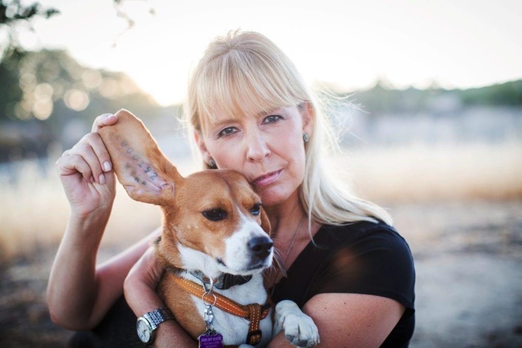 Câinii exploatați în laboratoare sunt tatuați cu un cod de bare. Acești câini nu au nume, fiind identificați doar prin acest cod. În imagine un câine salvat dintr-un astfel de laborator din SUA. Sursa foto: Teresa Rhyne