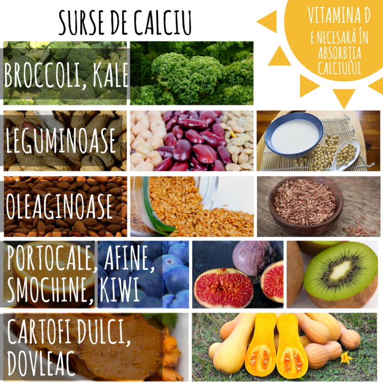 Surse de calciu. Vitamina D se obține fie prin expunere la soare, fie prin suplimentare - necesară cel puțin în sezonul rece